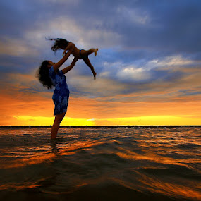 Sunset Fun by Alit  Apriyana - People Family ( playing, mom with kids )