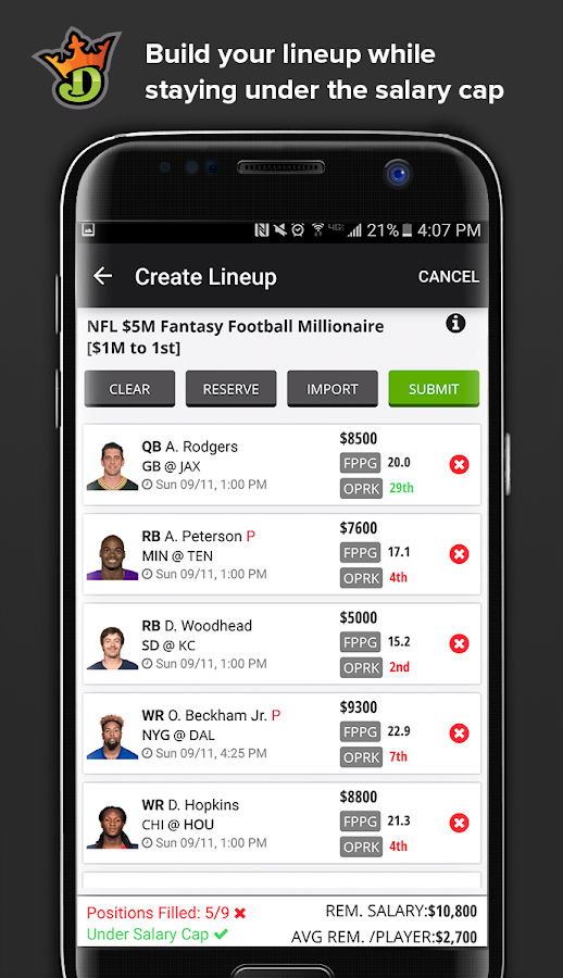 DraftKings Screenshot 1