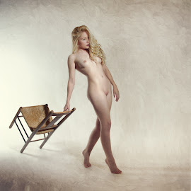Chair and Spotlight by John McNairn - Nudes & Boudoir Artistic Nude ( studio, colour, blonde, nude, creative )