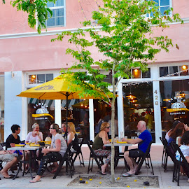 Dining Al Fresco in Miami Beach by Victoria Eversole - City,  Street & Park  Historic Districts ( resturants, people watching, miami beach street scene )