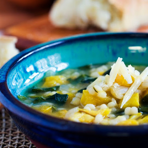 Delicata Squash, Israeli Couscous and Spinach Soup