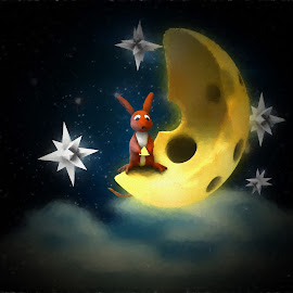Mouse on the Moon by Charlie Alolkoy - Illustration Cartoons & Characters ( clouds, moon, mouse, stars, space )
