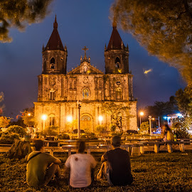 Just Admiring by Ynon Francisco - Buildings & Architecture Places of Worship ( philppines, church, faith, blue hour, iloilo, people, religion, catholic, details, facade, cathedral, night, long exposure, molo )