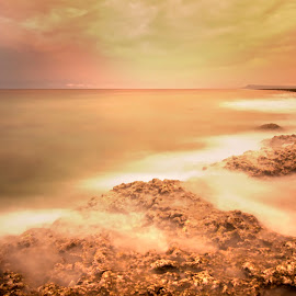 Lakshmanpur beach, Andaman by Chiranjib Mazumdar - Landscapes Waterscapes ( andaman, coral, sunset, india, beach, seascape, landscape, slow shutter )