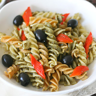 Pesto Pasta Salad with Roasted Bell Peppers