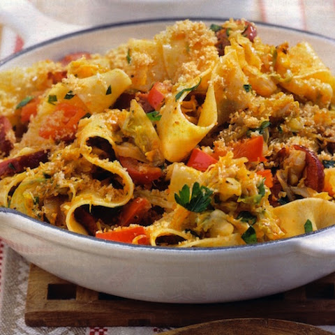 Ribbon Pasta with Fried Cabbage