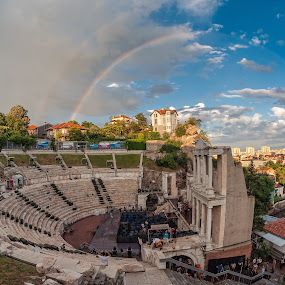 After the rain by Petar Shipchanov - City,  Street & Park  Historic Districts ( plovdiv, hill, houses, colors, theater, house, city, amphitheater, sky, ancient, theatre, roman, rainbow, bulgaria,  )