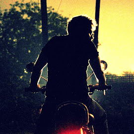 The lone rider by Sourav Saha - People Street & Candids ( rider, silhouette )