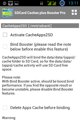 SDCARD CACHES PLUS BOOSTER PRO Screenshot 1
