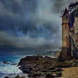 La Tour at Laguna Beach by Shauna Rae - Landscapes Beaches ( laguna beach, tower, california, castle, ocean, beach )