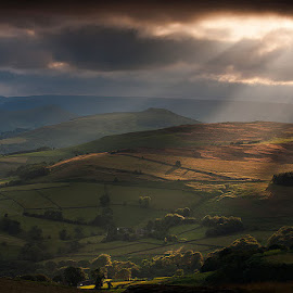 Rays of Light by Martin West - Landscapes Mountains & Hills ( stanage edge, evening, light, rays, derbyshire )