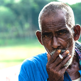 Aha! by Mahmudul Tapon - People Portraits of Men ( smoking, old man, men, people, portrait )