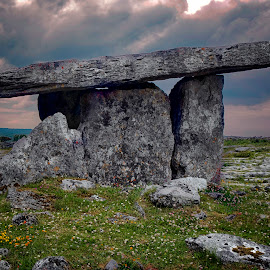Tomb by Debbie Deboo - Buildings & Architecture Statues & Monuments ( clouds, old, megalithic, tomb, ancient, sunset, ruin, stone, historical, landscape, abandoned,  )