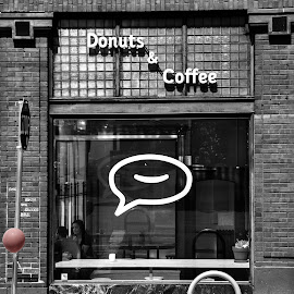 Donuts and Coffee by Gary Dobbin - City,  Street & Park  Markets & Shops ( shops, black and white, cafe, vancouver, city )