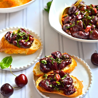 Balsamic Roasted Cherry Gorgonzola Bruschetta