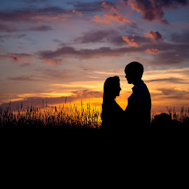 Sunset by John  Pemberton - People Couples ( love, sunsets, silhouette, sunset, couple )