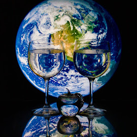 Top of The World Ma! by Lisa Hendrix - Artistic Objects Other Objects ( reflection, color, blue, apple, artistic, earth, wine glasses, world )