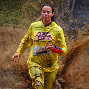 Zombie Infection Area by Marco Bertamé - Sports & Fitness Other Sports ( water, 1570, splatter, splash, differdange, 2015, number, eyes closed, yellow, soup, running, luxembourg, muddy, strong, woman, lady, brown, strongmanrun )