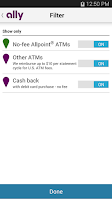 Screenshot of Ally's ATM & Cash Locator