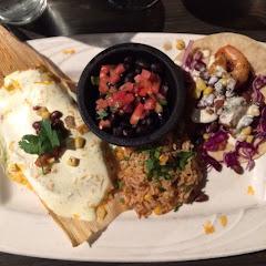 Corn tamale, shrimp tacos, rice and black beans.