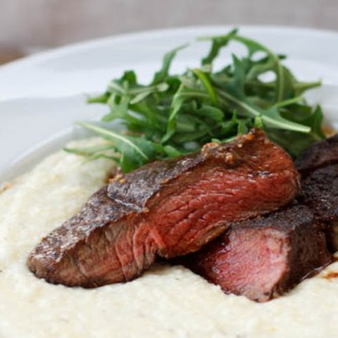 Seared Elk Ribeye Steaks with Maple Mascarpone Grits