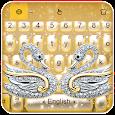 Luxury Gold Diamond Swan Keyboard Theme