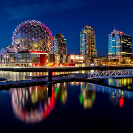 Science World by Noel Salisid - Buildings & Architecture Architectural Detail ( #architecture, #waterscapes, #scienceworldtheatre, #buildings, #lights )
