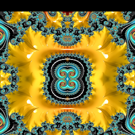 Strange O by Capucino Julio - Typography Single Letters ( strange, decorative, yellow, letter o, fractal. )