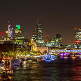 City of London by Craig Hutton - City,  Street & Park  Skylines ( lights, water, thames, london, long exposure, night, city, river )
