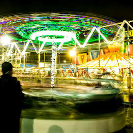 Merry Go Round  by Subhajit Basak - City,  Street & Park  Amusement Parks ( merry go round, amusement park, kolkata, india, night, long exposure, cityscape, motion, bengal, motion blur, city )