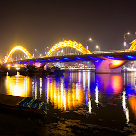The Dragon Bridge by Fransiskus Chai - Buildings & Architecture Bridges & Suspended Structures ( night photography, night, bridge, bridges, night shot, nightscapes, nightscape )