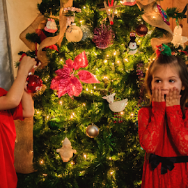 Good and Bad Twin by Jamie Hodge - Public Holidays Christmas ( christmas lights, christmas, christmas tree, kids, twins,  )