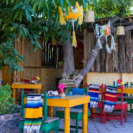 Colorful Eatery by Vonelle Swanson - City,  Street & Park  Street Scenes