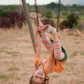 Look What I Can Do by Valerie Aebischer - Babies & Children Children Candids ( child, swinging upside down, child playing, girl, child on swings, play )