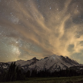Stargazing by Dale Slater - Landscapes Mountains & Hills ( mountain, milky way, stars, clouds, climber )