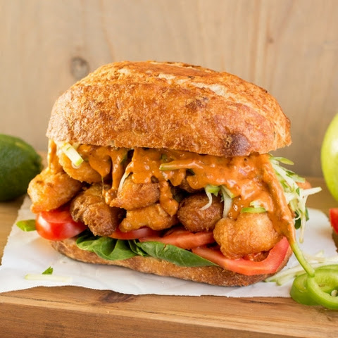 Beer Battered Fish Sandwich with Chile-Apple Slaw and Ancho-Sriracha Mayo