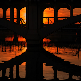 Sunset reflection by David Bair - Buildings & Architecture Bridges & Suspended Structures ( colorful, sunsets, arizona, reflections, bridges, salt river,  )