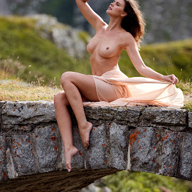 Summer in the Mountains by Sandro Bischofberger - Nudes & Boudoir Artistic Nude ( skirt, olga kaminska, sexy, girl, topless, outdoor, swiss alps, bridge, brown hair, alps, barefoot )