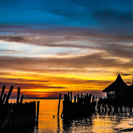 Entrance by Ynon Francisco - Landscapes Sunsets & Sunrises ( seashore, hut, cottage, sunset, fences, seaside )