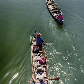 fisher boat by Jeece Gallay - People Street & Candids ( water, myanmar, uben bridge, fishing boat )