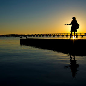 Song at Sunset by Drew Tarter - People Portraits of Women ( sunset, people, portrait, scenic musician,  )