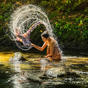 Washing #2 by JNJ PhotoStream - People Fine Art ( canon1dx, bukittingi, indonesia, padang, waterfall, women, river )