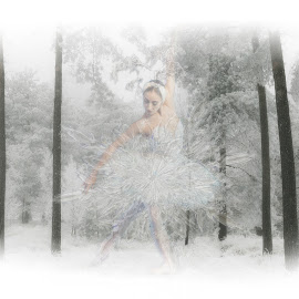 snowflake by Kathleen Devai - Illustration Sci Fi & Fantasy ( snow, ballet, woods, dancer )