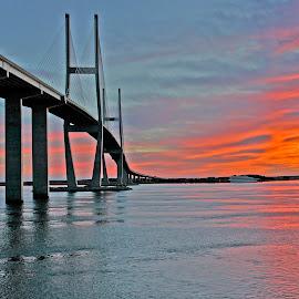 Sidney's Way by Harry James - Buildings & Architecture Bridges & Suspended Structures ( water, coastal georgia, sidney lanier bridge, golden isles, brunswick georgia, sunset, bridge )