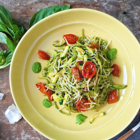 Spaghetti with Kale Pesto, Zucchini, and Roasted Tomatoes