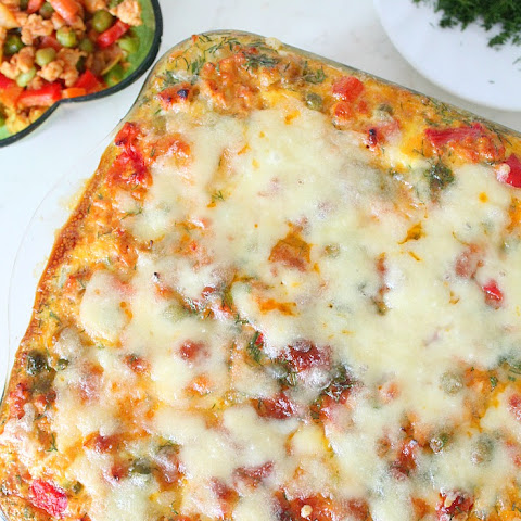 Vegetable and Chicken Hash brown lasagna