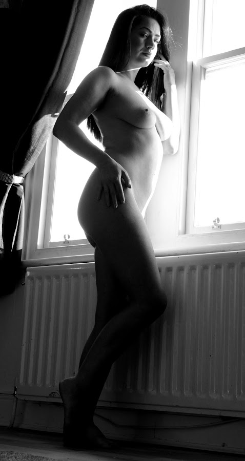 Jess the Sentinel by DJ Cockburn - Nudes & Boudoir Artistic Nude ( grayscale, natural light, art nude, model, monochrome, dark hair, window, black and white, home shoot, woman, brunette, jess harrington, portrait, caucasian )