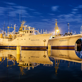 Paspaley by David Millard - Transportation Boats ( reflection, duck pond, blue, boats, night, long exposure, frances bay, marina, paspaley, darwin )