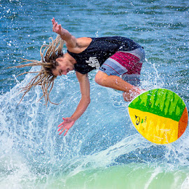 Flying Skimmer by Lawayne Kimbro - Sports & Fitness Surfing ( skimboard, outbanks, obx, nc, lawayne, wave, pro, skimboarding, ocean, professional, north carolina, competition, skim,  )