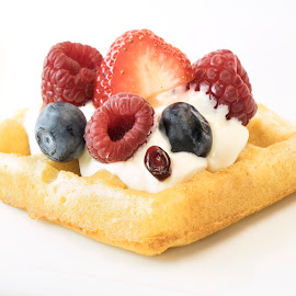 Fruity Waffle by Jim Downey - Food & Drink Fruits & Vegetables ( pomegranate seed, white, blueberries, strawberry, raspberries )